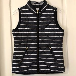 Crown & Ivy | Black & White Striped Puffer Vest